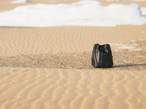 black leather bucket bag