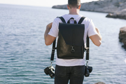 black leather photography backpack