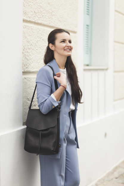 Black Leather Backpack/ 3in1 Leather Bag