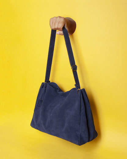 Blue Leather Shoulder Bag