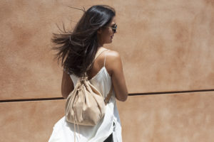Beige Suede Backpack