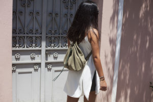 Light Khaki Suede Backpack