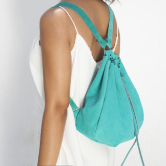 green suede backpack