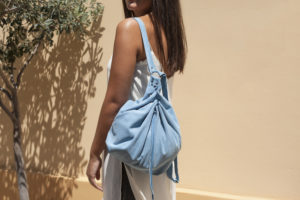 Light Blue Suede Backpack