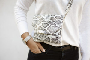 snake print leather cross-body bag