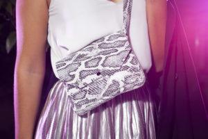snake print leather cross-body bag
