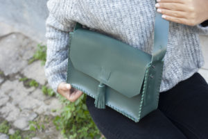 Green Leather Cross-body Bag