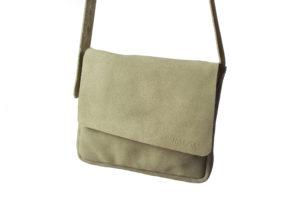Khaki Suede Cross-body Bag