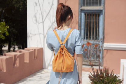 Peach Leather Backpack