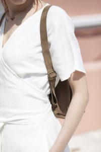 Khaki Suede Backpack